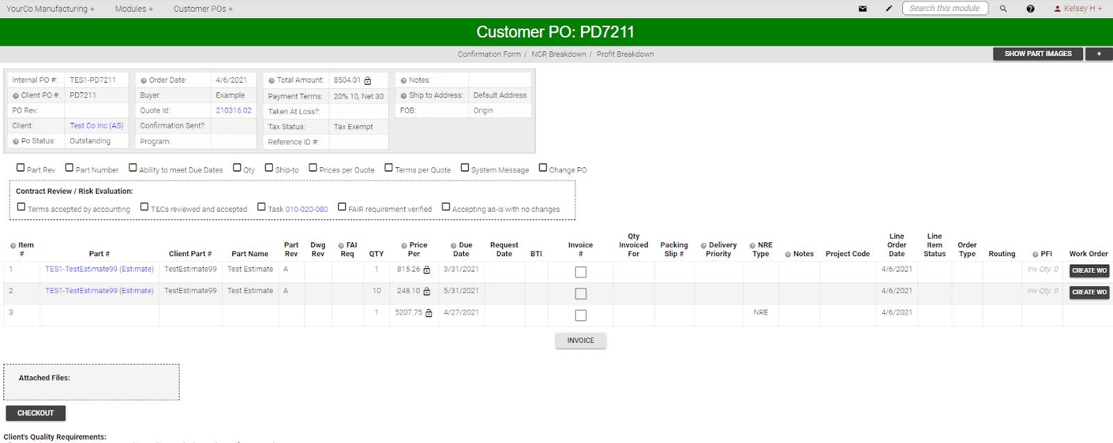 Customer PO REPORT